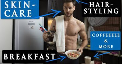 MALE MODEL MORNING ROUTINE   hairstyle, skin care, breakfast & more