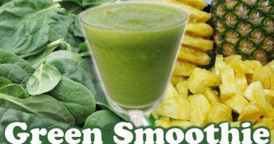 Healthy Green Smoothie Challenge Spinach Pineapple Organic Honey Banana Fruit Juice Video by Jazevox
