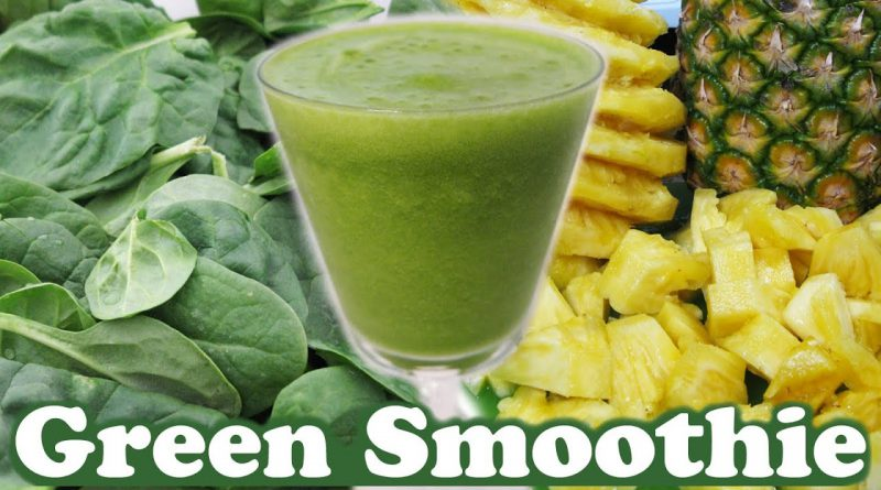 Healthy Green Smoothie Challenge Spinach Pineapple Organic Honey Banana Fruit Juice Video by Jazevox