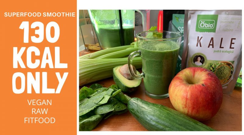 130 KCAL SUPERFOOD SMOOTHIE - GREAT FOR SKIN AND DIGESTION! RAW VEGAN, HEALTHY, NO BLOATING